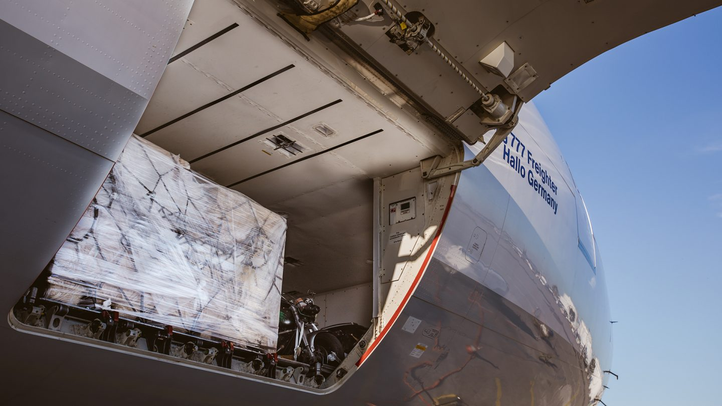 View on a freight plane with cargo in it