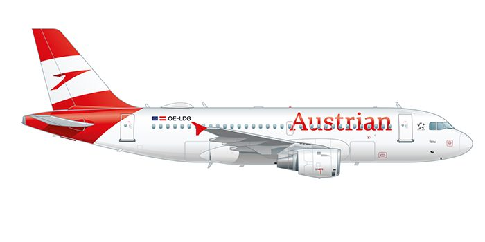 Side view of the Airbus 319-111 in Austrian design