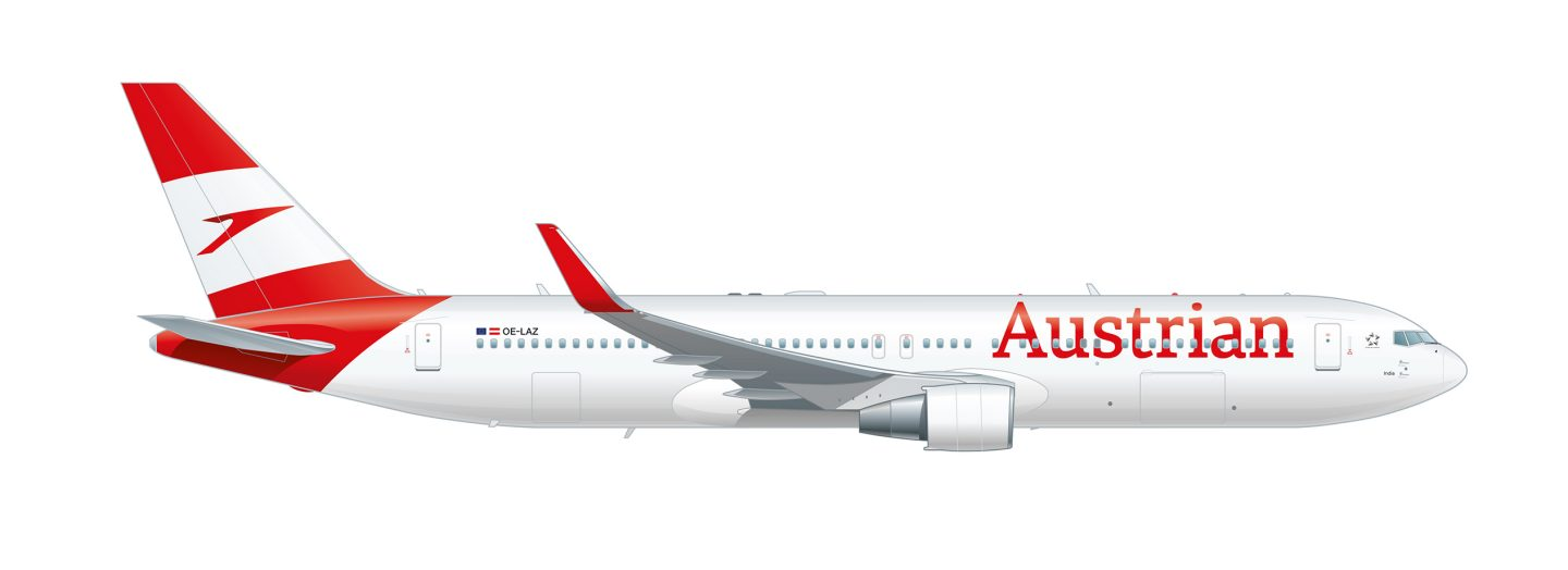 Side view of the Boeing 767-300ER in Austrian design