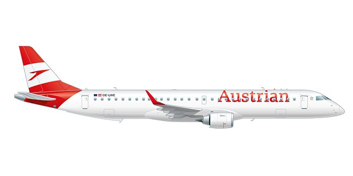 Side view of the Embraer 195 in Austrian design