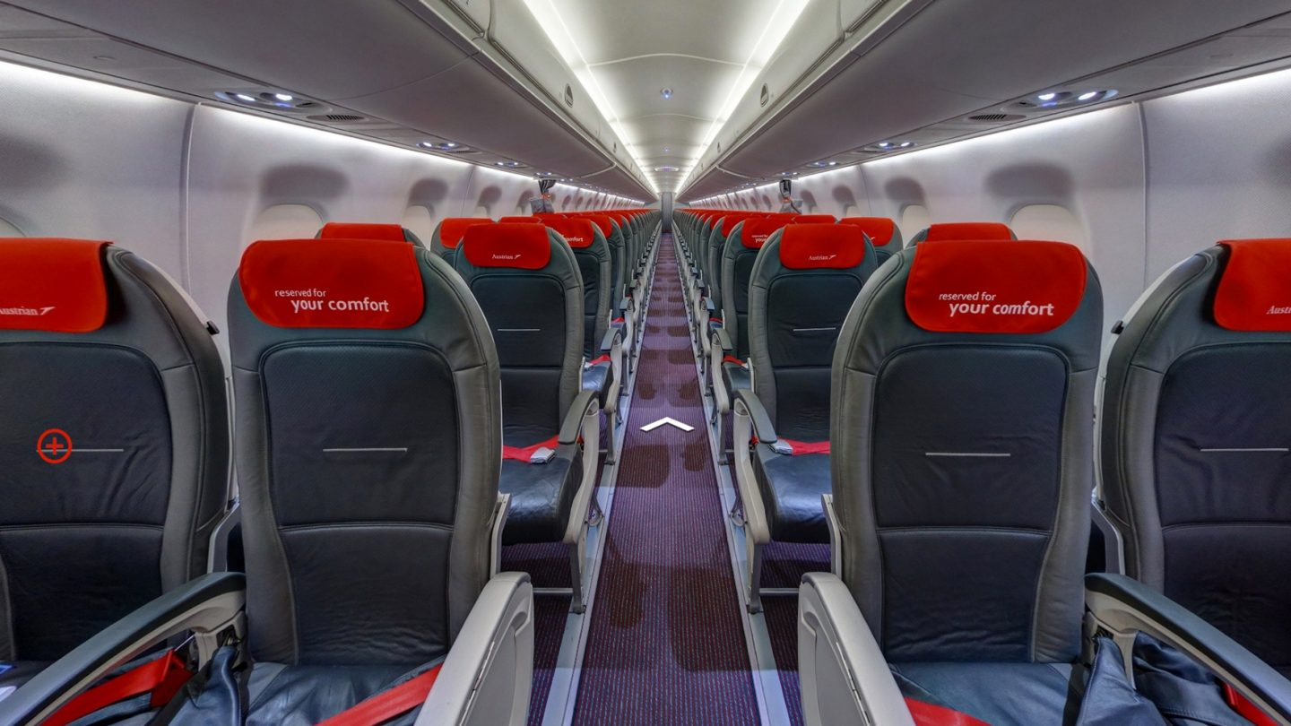 Interior view of the Embraer 195
